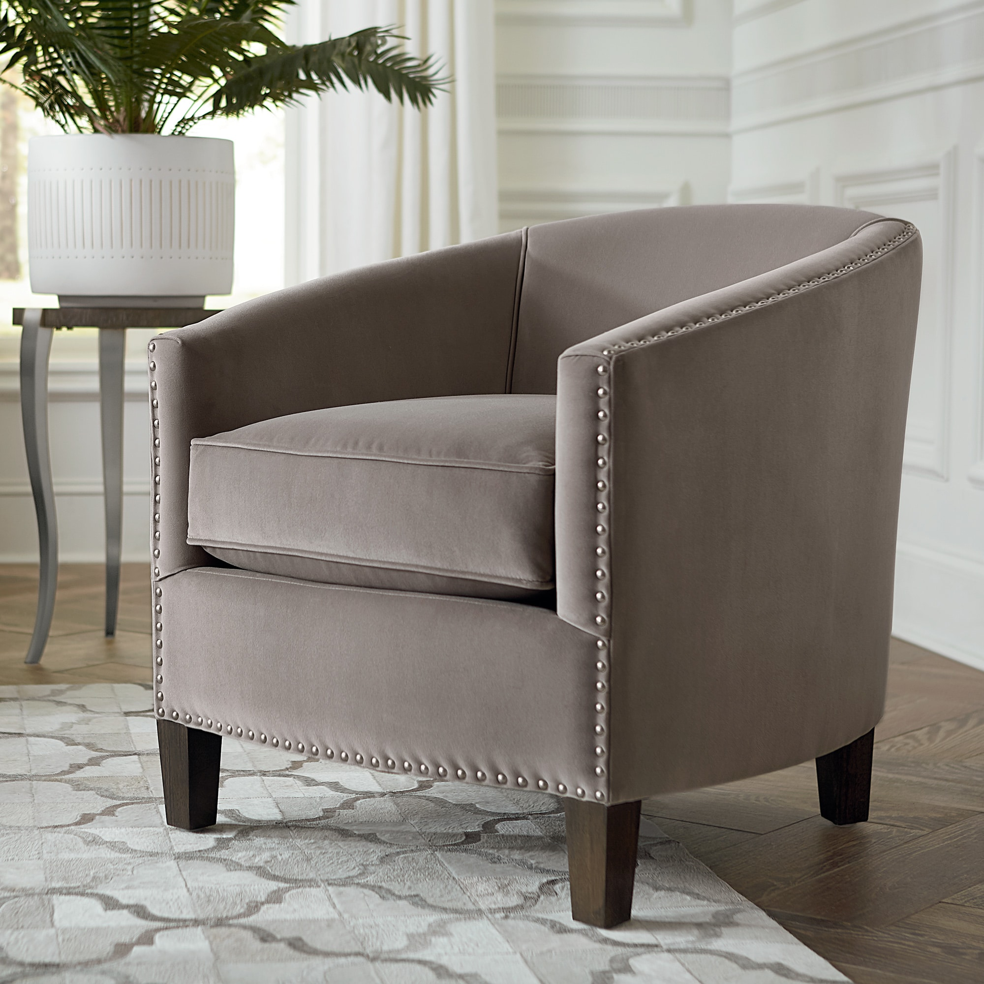 Fabric Barrel Accent Chair Maxwell