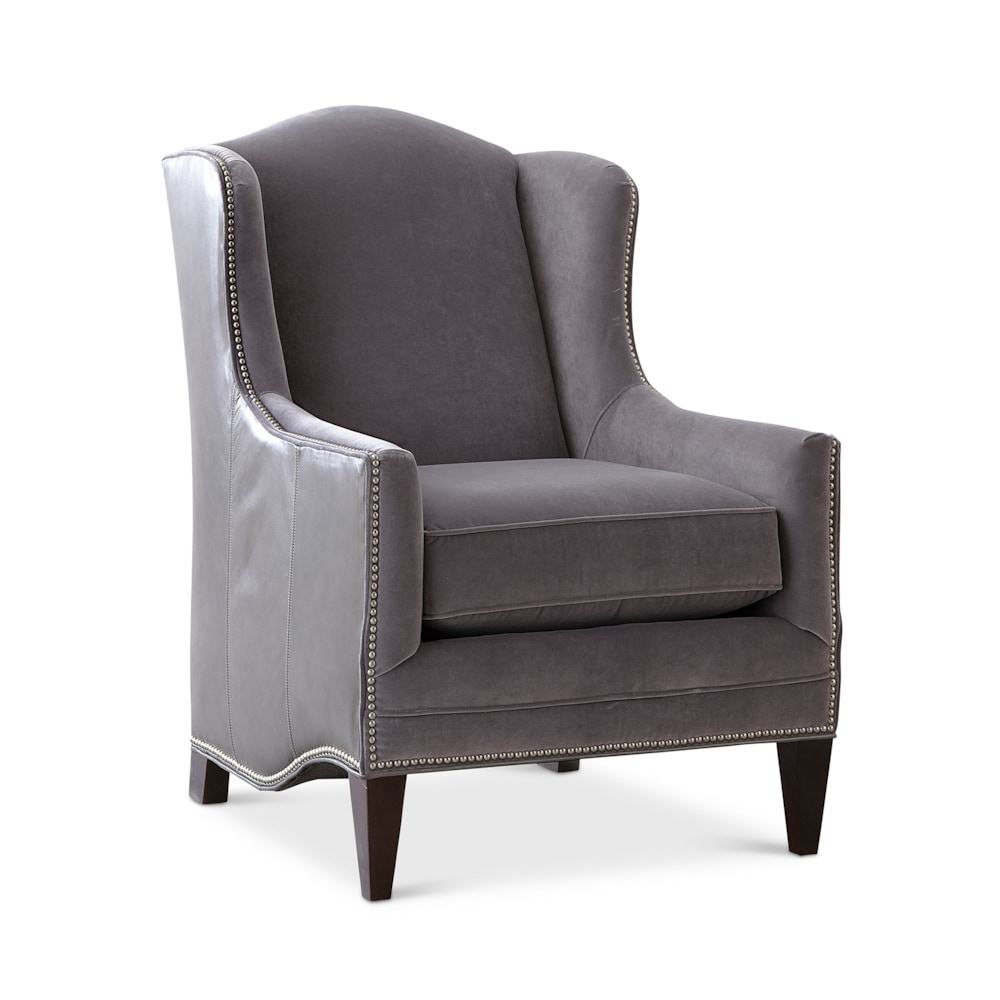 Tall Wingback Fabric And Leather Accent Chair Fleming