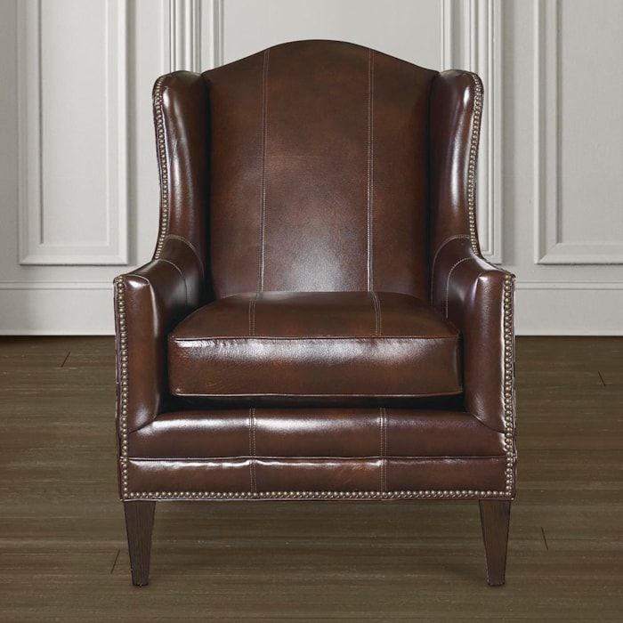 Wingback Leather Accent Chair With Tapered Leg Fleming