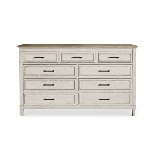 9 Drawer Wood Top Dresser