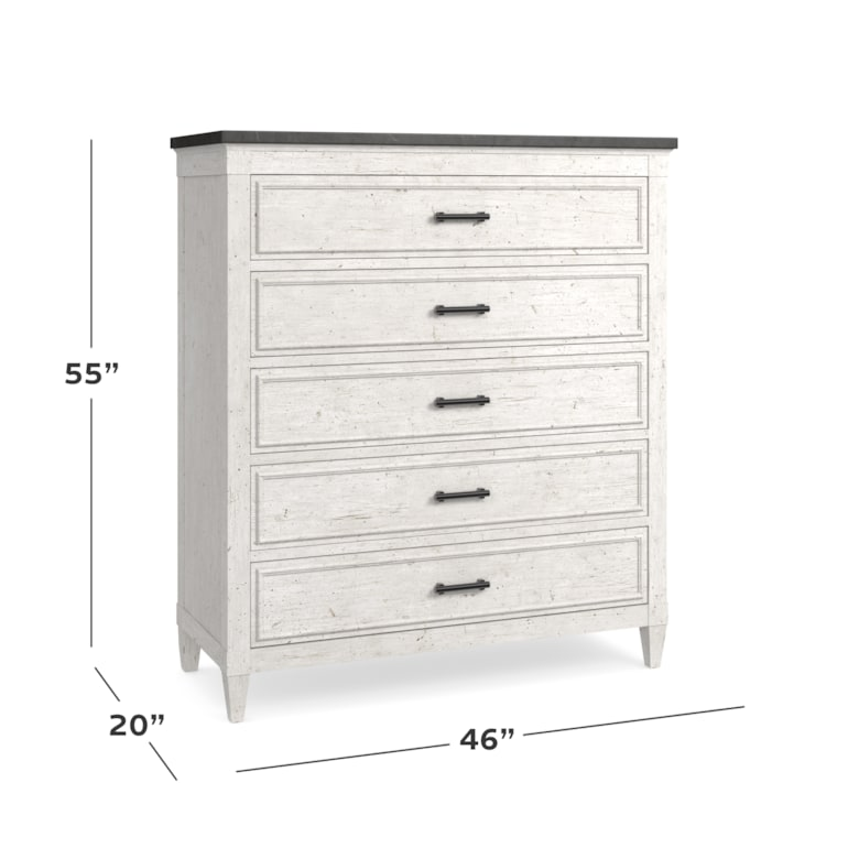 Stone Top 5 Drawer Chest
