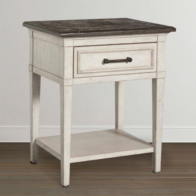 Stone Top Bedside Table