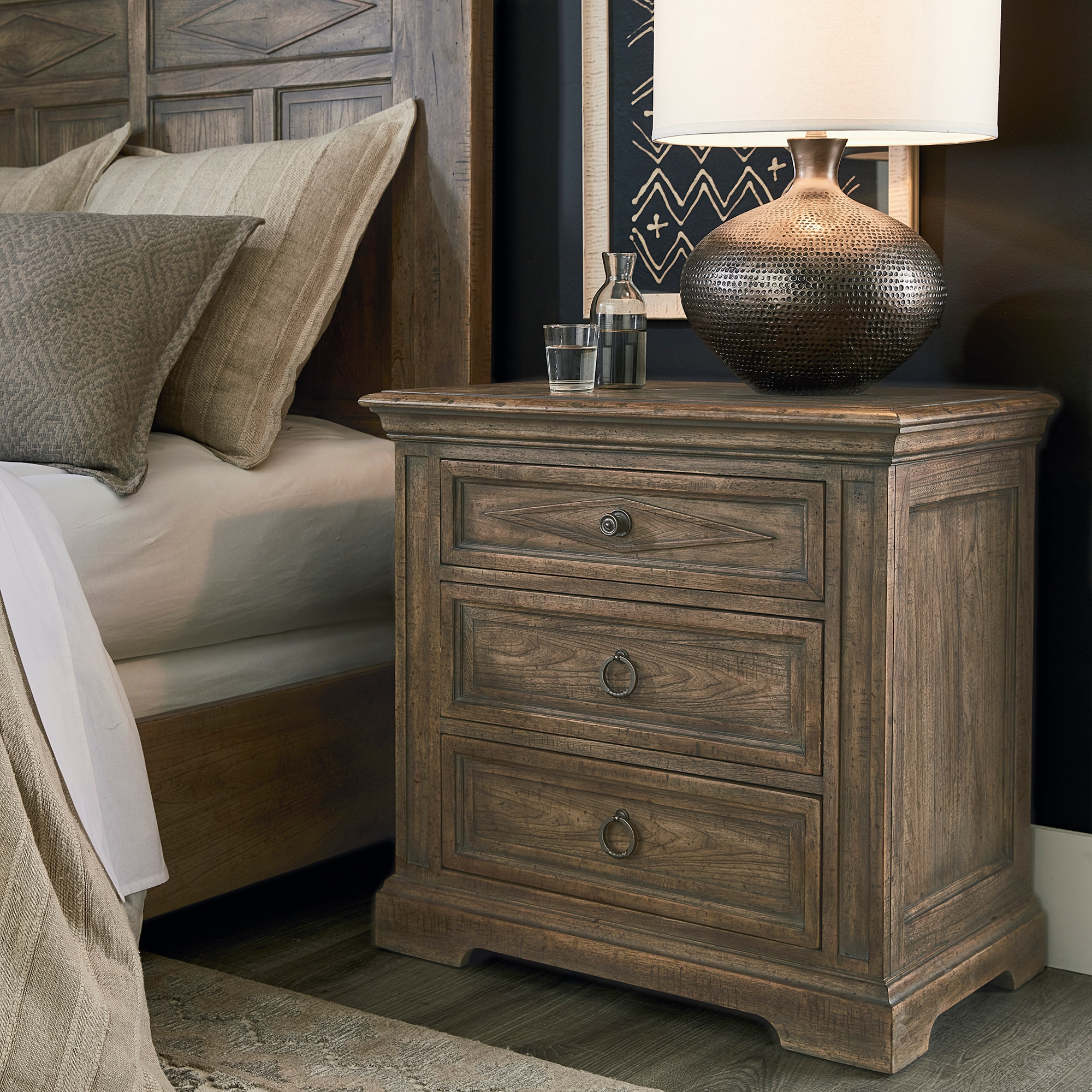 Woodridge 3 Drawer Nightstand Brown Bassett Furniture