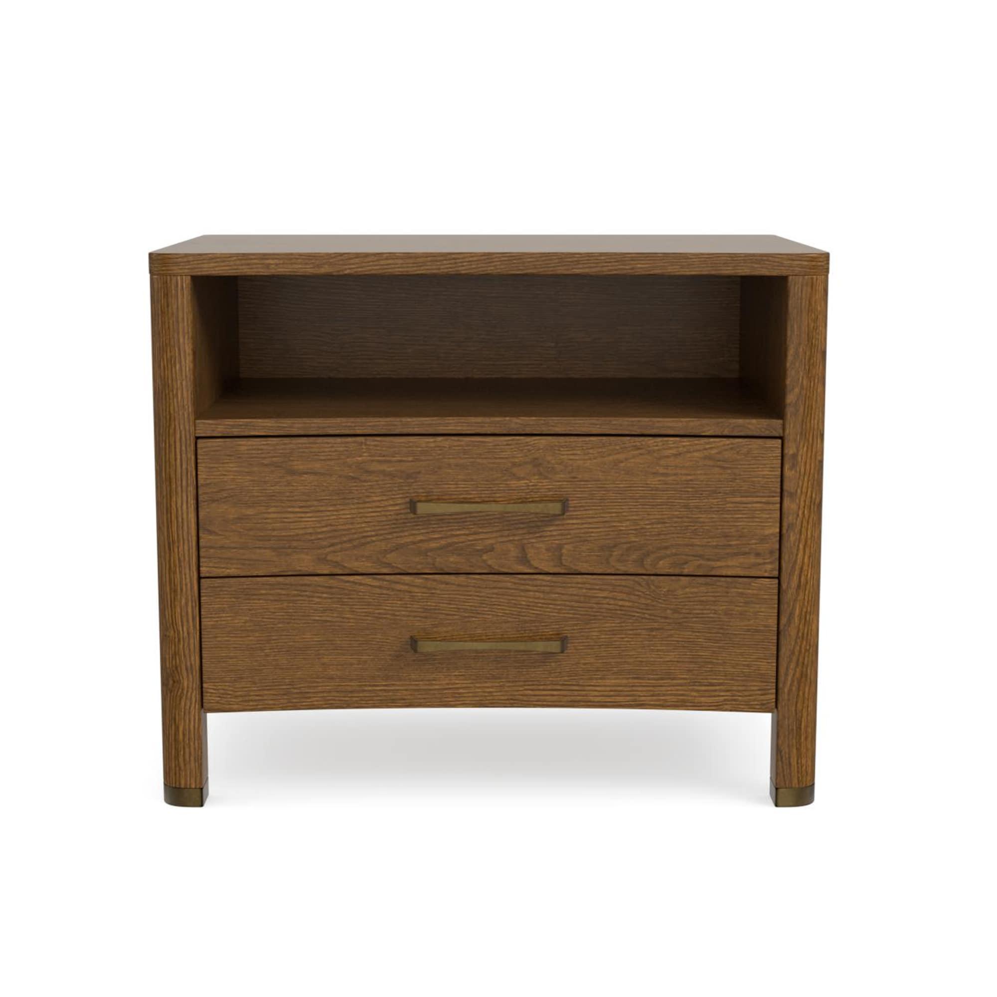 2 Drawer Nightstand With Shelf Caramel Brown Catania