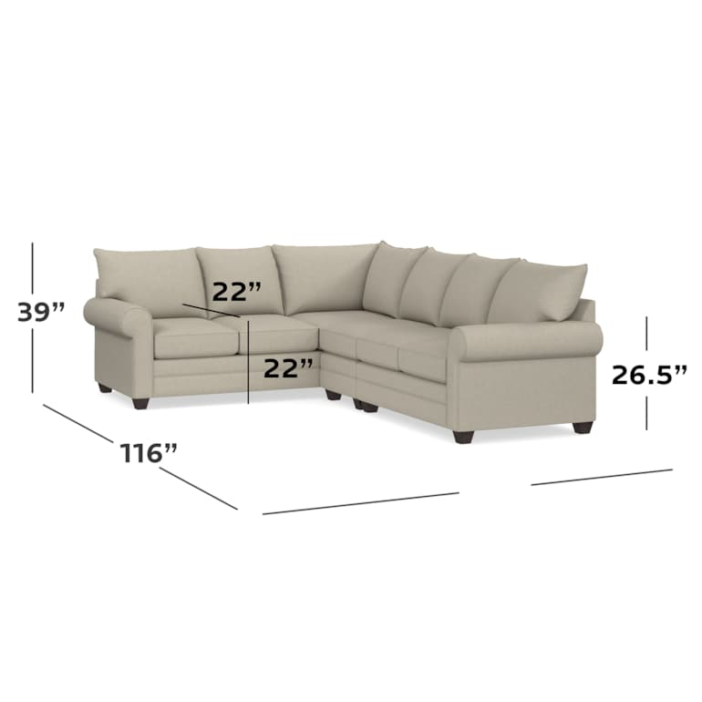 Roll Arm Large L Sectional