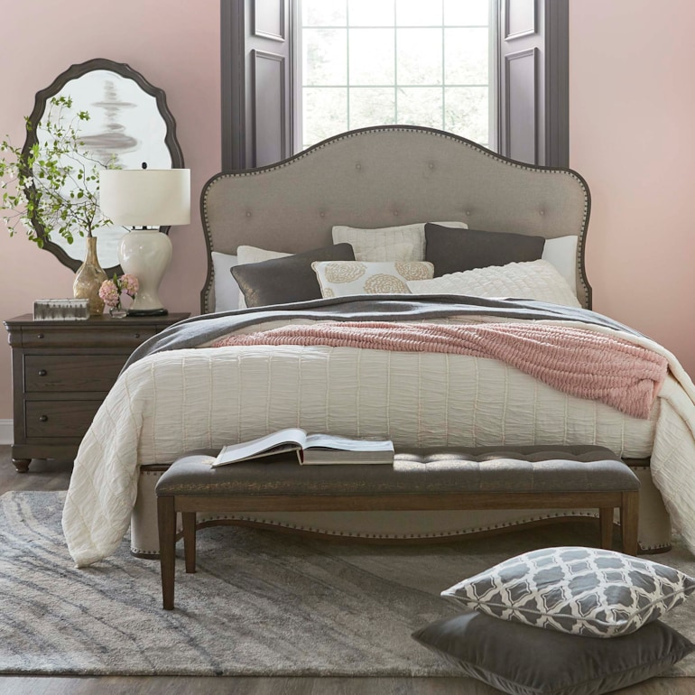 Traditional Queen Upholstered Bed Cobblestone Provence