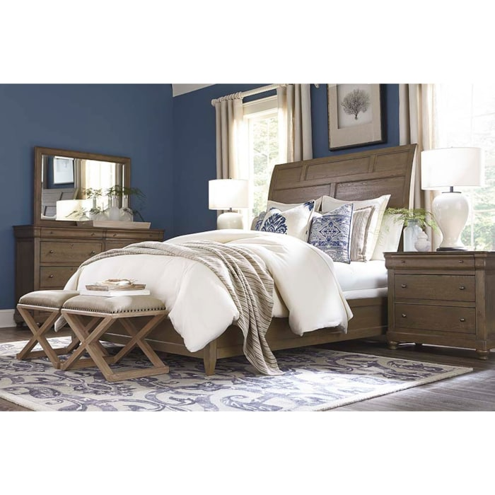 Traditional Queen Sleigh Bed Cobblestone Provence