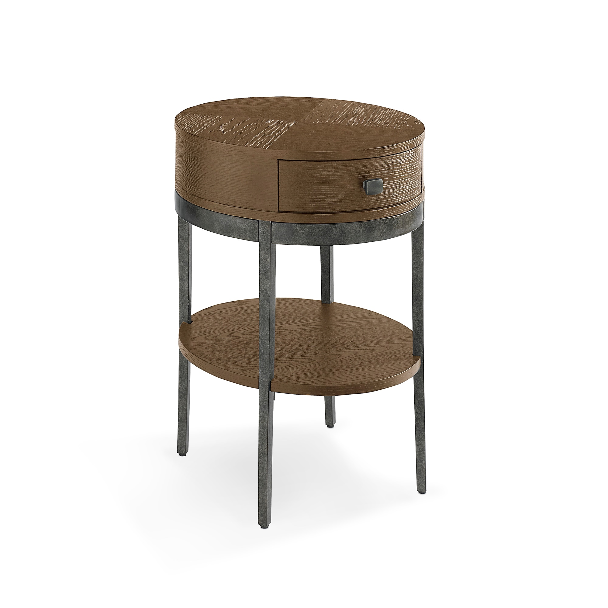 Picture of: 17 Inch Round Wood Chairside Table 1 Drawer Bratton