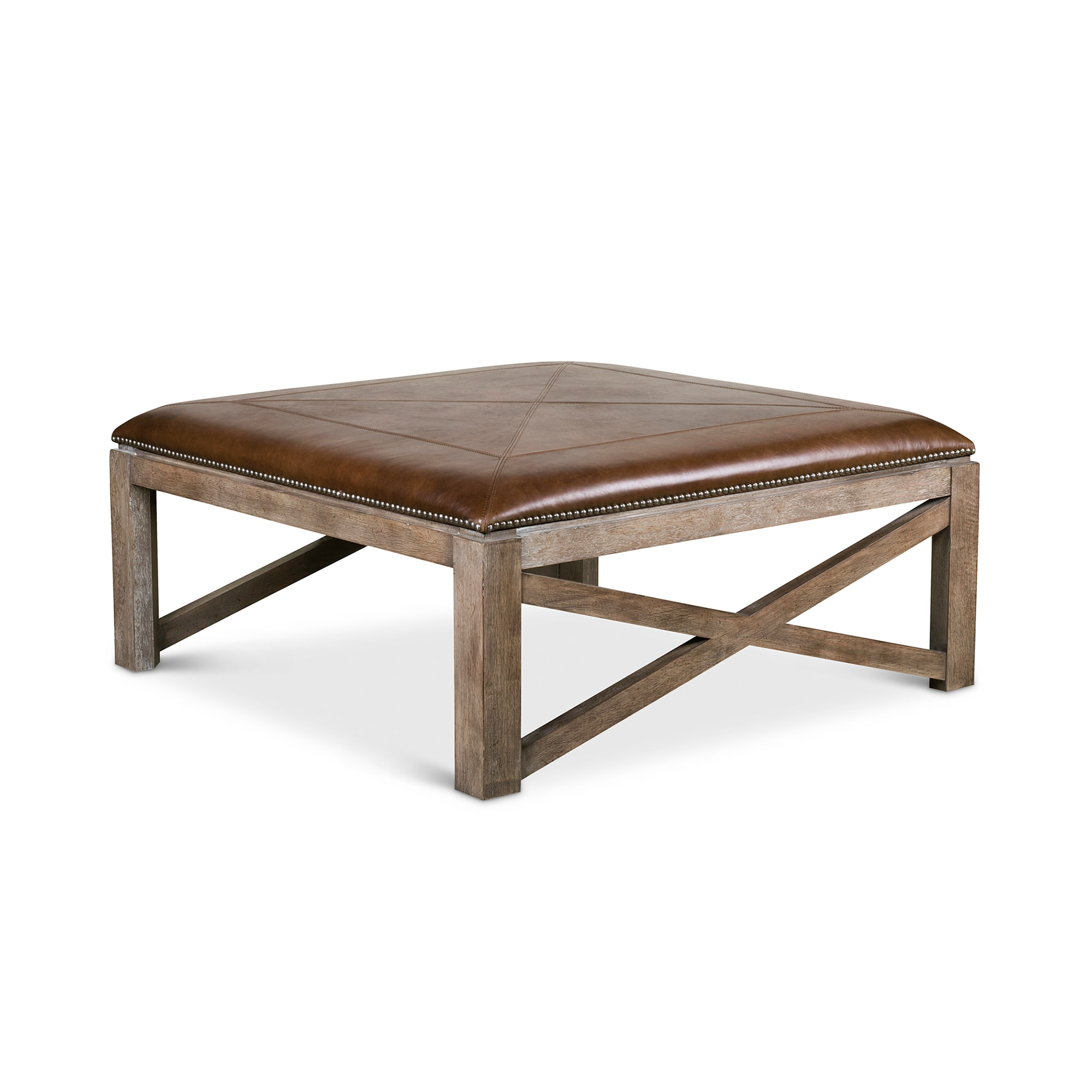 - 42 Inch Square Ottoman Cocktail Table - Leather Compass