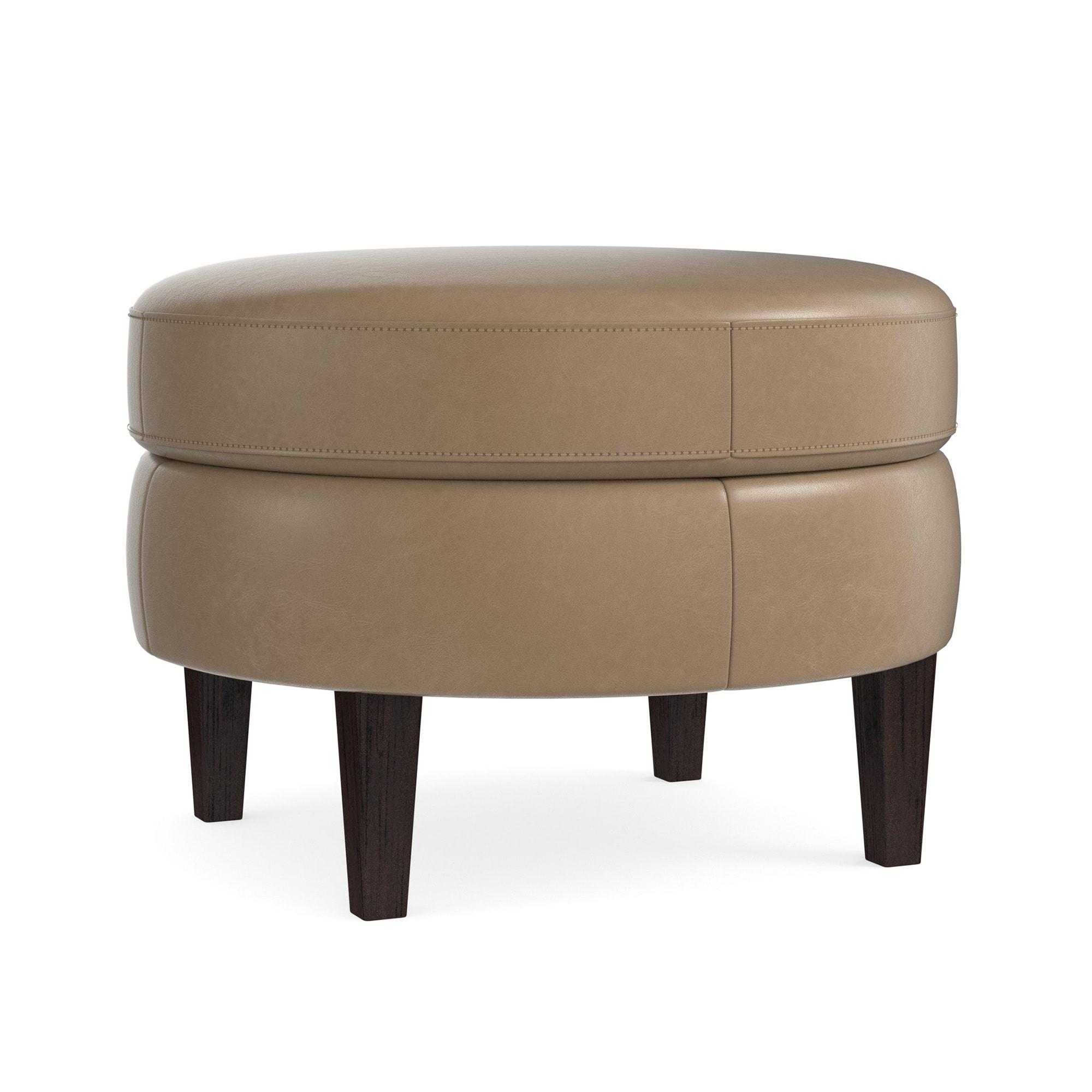 - Custom Ottoman & Bench Leather Round Ottoman