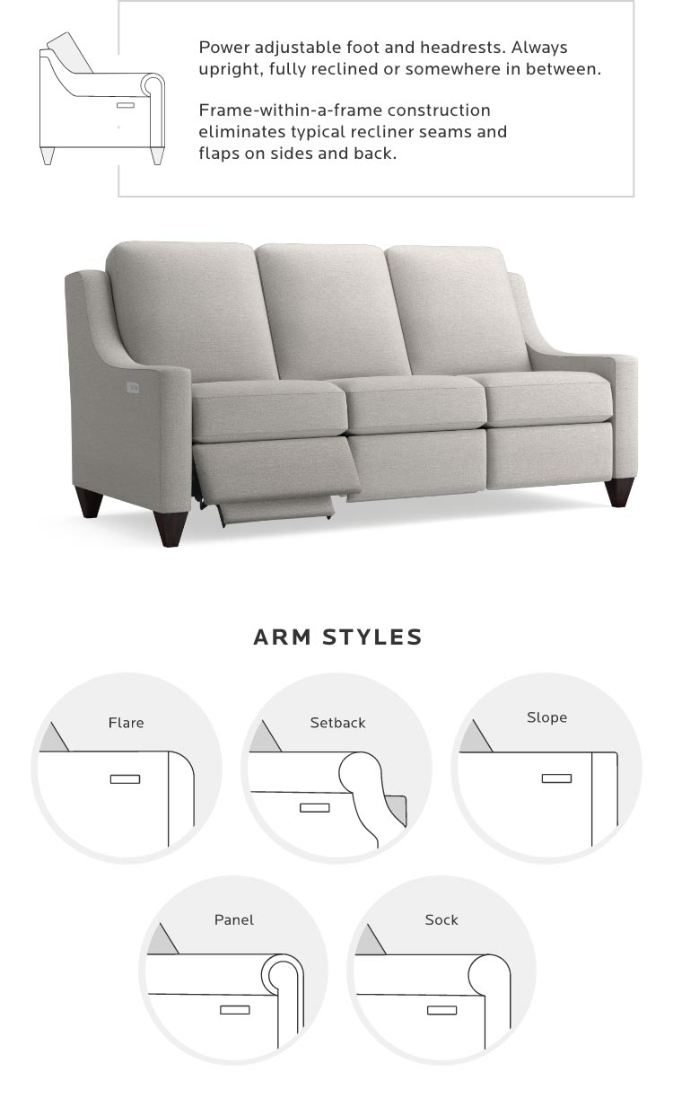 Sectional details. 5 Arm Styles. - Mobile