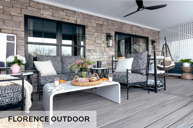 outdoor covered deck with furniture