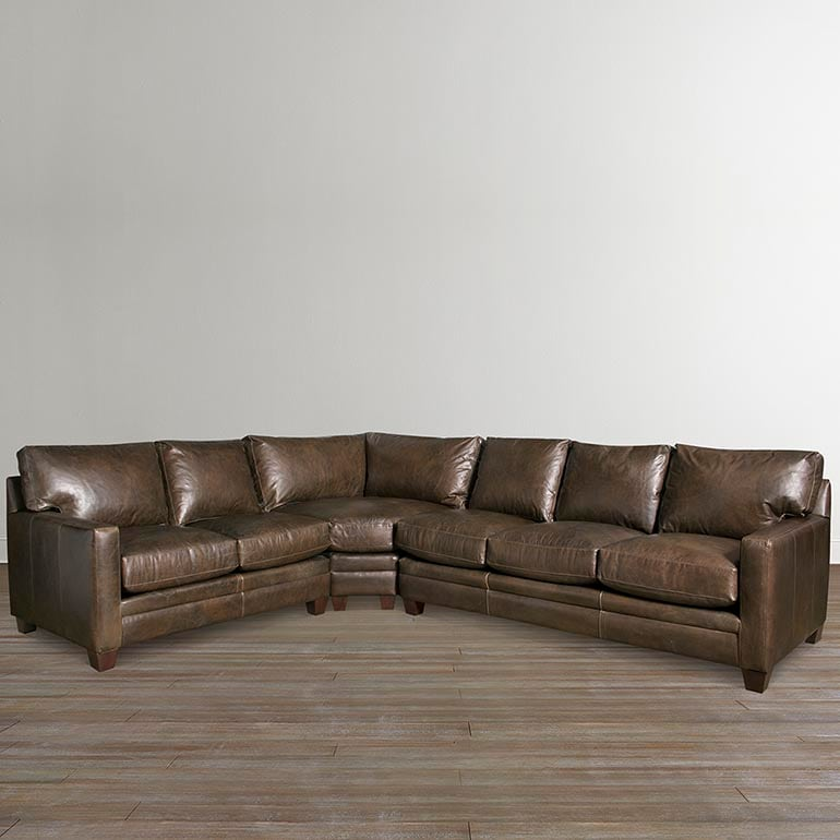 different types of couches names bassett furniture Custom Leather Ladson Large L-Shaped Sectional