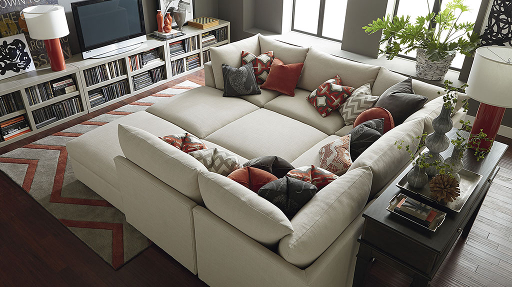 where should i put my tv bassett furniture Beckham Pit Sectional