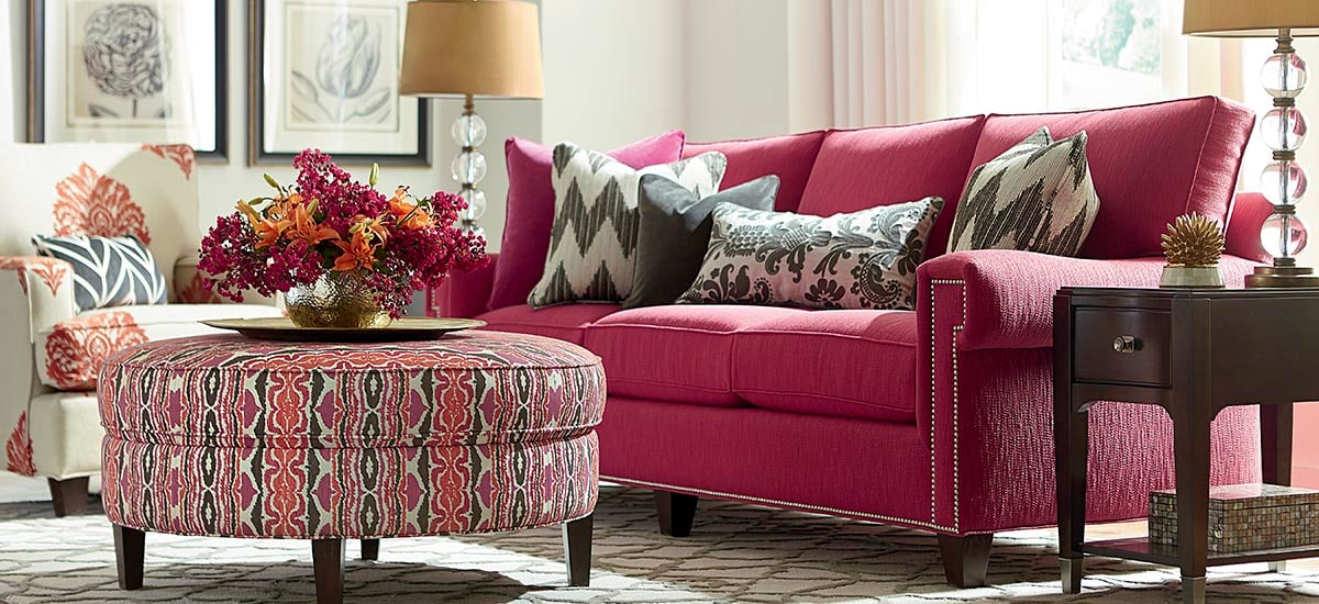 Bassett Furniture - living room with pink sofa