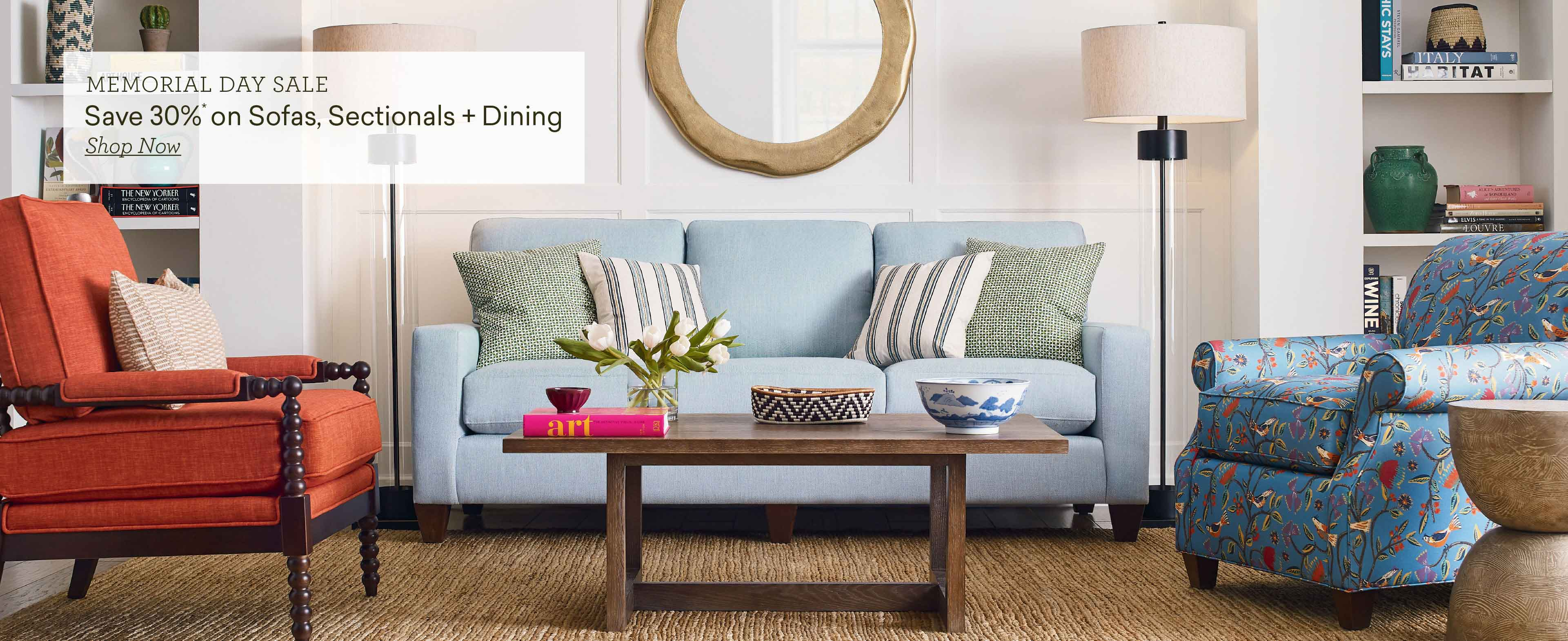 memorial day sale save 30% on sofas sectional and dining slide 1 Desktop