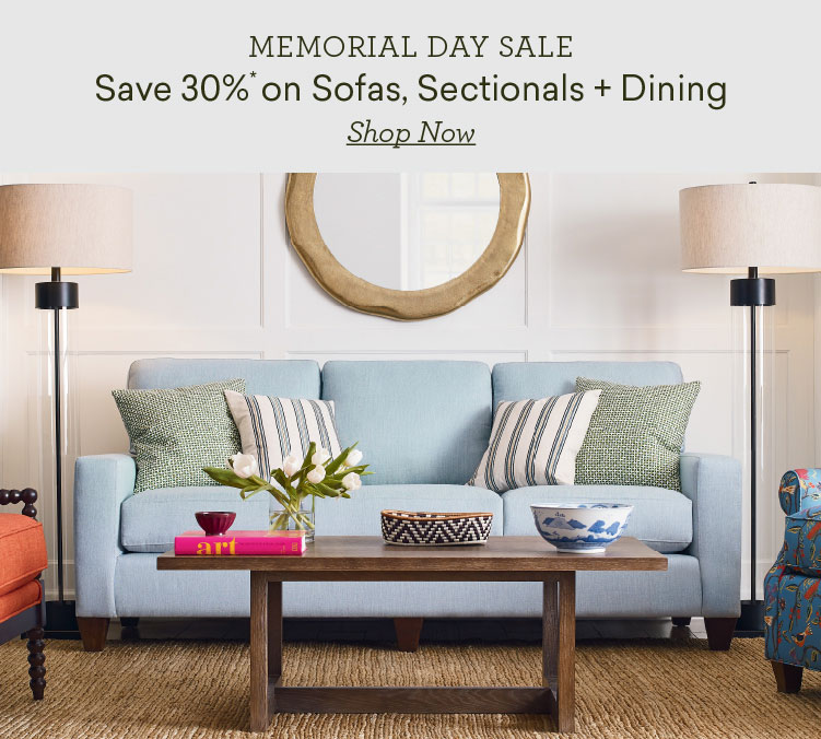 memorial day sale save 30% on sofas sectional and dining slide 1 Mobile