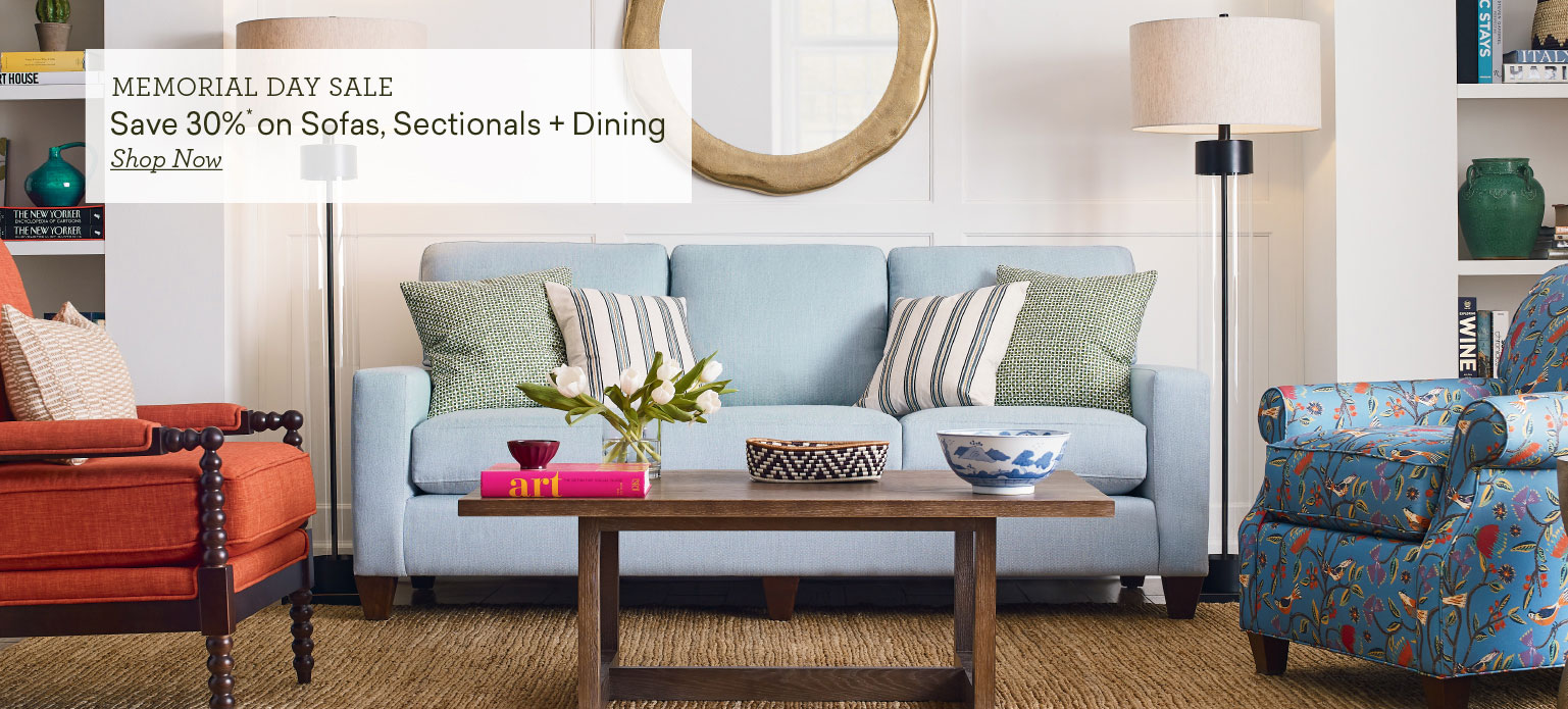 memorial day sale save 30% on sofas sectional and dining slide 1 Tablet